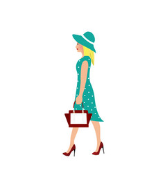 elegant woman with blue dress walking vector image