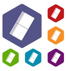 Eraser icons set hexagon vector