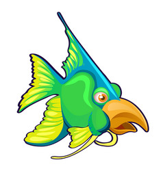 fancy green fish with bird beak isolated on a vector image