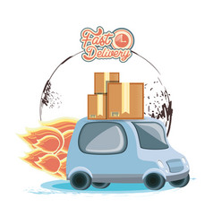 fast delivery service with van travel vector image