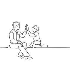 father and son sitting together vector image