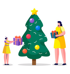 females giving present box near fir-tree vector image