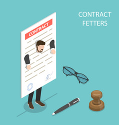 flat isometric concept of contract fetters vector image