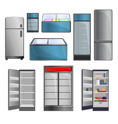 freezer icon set cartoon style vector image