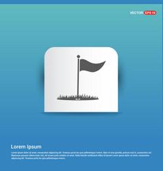 Golf flag icon - blue sticker button vector