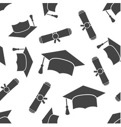 Graduation cap and diploma rolled scroll seamless vector