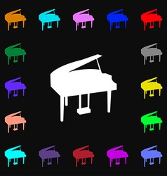 Grand piano icon sign Lots of colorful symbols for vector