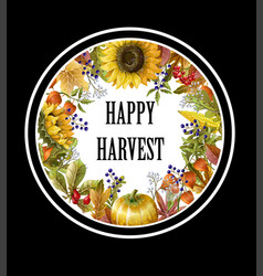 greeting banner harvest with autumn leaves vector image