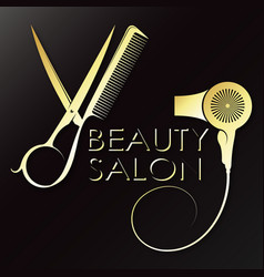 Hair stylist symbol with scissors and comb vector