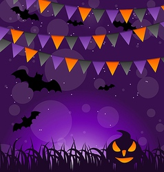Halloween background with pumpkins and hanging vector