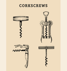 hand drawn corkscrews set retro vector image