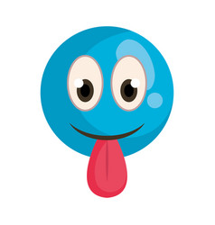 happy fool face emoticon with tongue out vector image