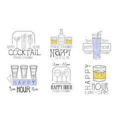 happy hour free drinks hand drawn retro labels set vector image