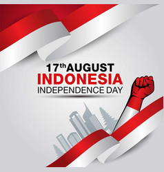 Happy independence day indonesia greetings design vector