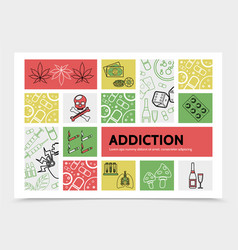 Harmful addictions infographic concept vector