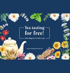 Herbal tea frame design with mint aster roselle vector