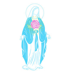 Holy virgin mary with a rose vector