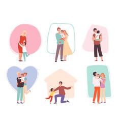 Hugging kids parents embrace their children vector