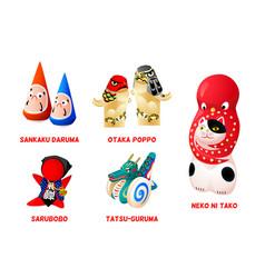 japanese folk toys set iii vector image
