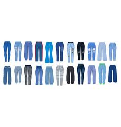 Jeans pants cartoon set icon vector