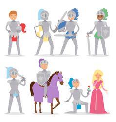 knight cartoon hero character with horse vector image
