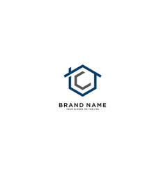 Letter c and home logo design vector