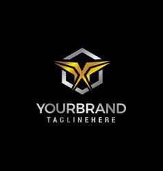 letter x gold logo design concept template vector image