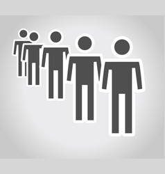 long queue on white background vector image