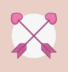 Love card with arrrows cupid vector