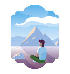 Man contemplating horizon in snowscape scene vector