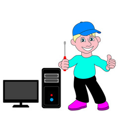 master repair of computers and televisions vector image