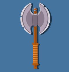Medieval pole-axe game weapon fighting axe vector