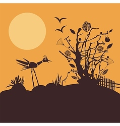Nature scene at sunset vector
