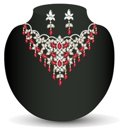Necklace with her wedding with red vector