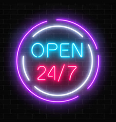 Neon open 24 hours 7 days a week sign in circle vector