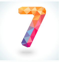 Number seven in modern polygonal crystal style vector