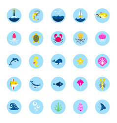 ocean or sea logo with with animals and fish vector image