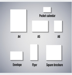 office set of empty white paper sheets of vector image