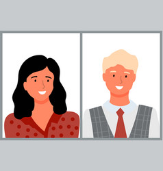 Old man and young female brunette girl portrait vector