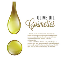 olive oil cosmetics poster with realistic golden vector image