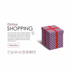 online shopping web banner with gift box vector image