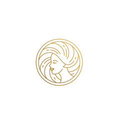 outline female face profile logo in shape hand vector image