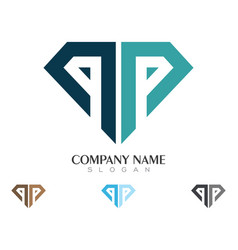 P letter with diamond logo vector