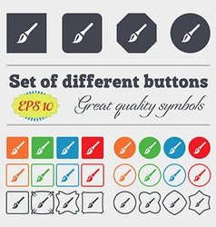 Paint brush artist icon sign big set of colorful vector