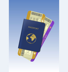 Passport and air tickets vector