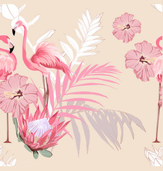 pink flamingo and exotic flowers palm leaves vector image