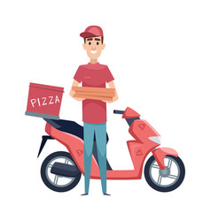 pizza delivery boy with food boxes and scooter vector image