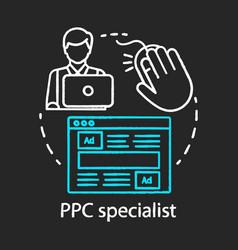 ppc specialist chalk concept icon digital vector image