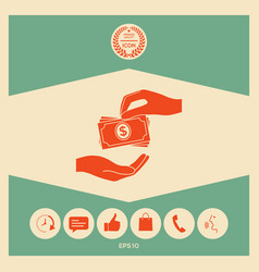 Receiving money banknotes stack icon cash stacks vector