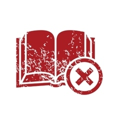 Remove book red grunge icon vector